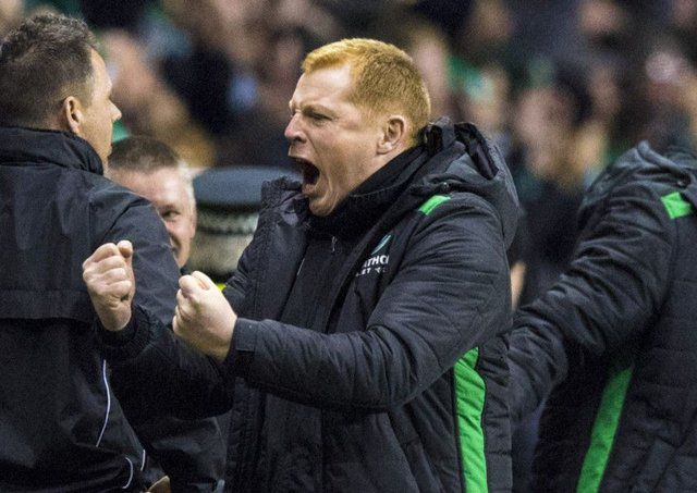 Neil Lennon celebrates Hibs' 2-0 victory at Easter Road last night