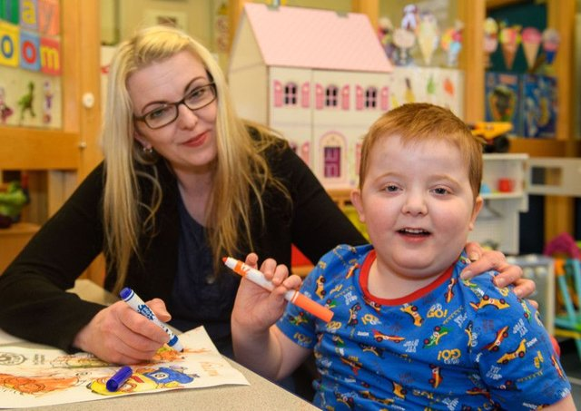 Karen Gray, with her son Murray, five, is campaigning for cannabis-based medicines to be made available in Scotland and the UK (Picture: Ian Georgeson)