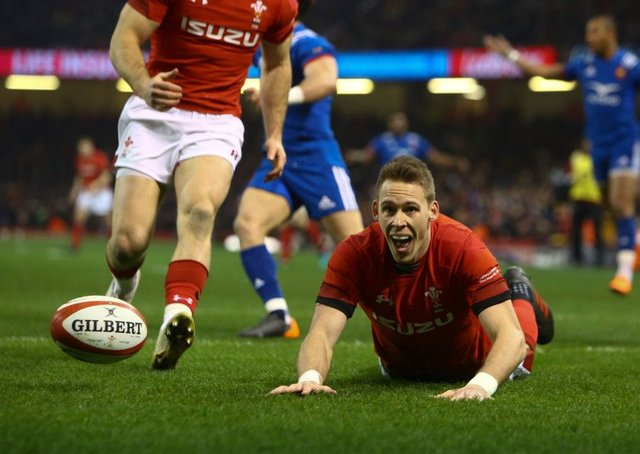 Wales wing Liam Williams scores a try during the win over France. Picture: Geoff Caddick/AFP/Getty Images