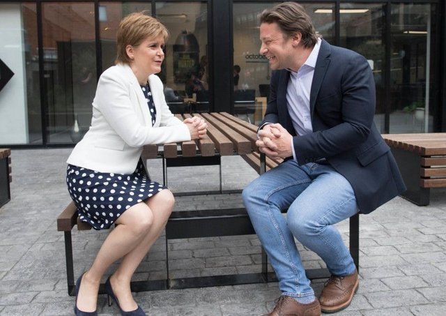 Jamie Oliver meets First Minister Nicola Sturgeon in London as she announces new measures to tackle childhood obesity (Picture: PA)