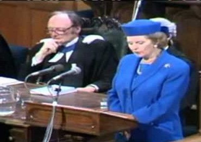Margaret Thatcher addressing the Church of Scotland General Assembly in 1988. Picture: Youtube