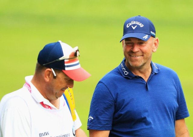 Thomas Bjorn with his caddie during the BMW PGA Championship at Wentworth. Picture: Andrew Redington/Getty Images