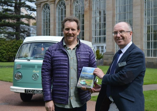 Kevin Reid, Director of Horticulture at the Royal Botanic Garden Edinburgh with author Martin Dorey and Hamish the camper van