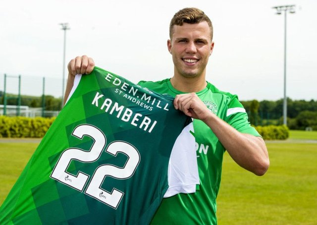 Florian Kamberi is sticking with the No 22 shirt after his impressive form last season earned him a permanent move to Hibs. Picture: SNS