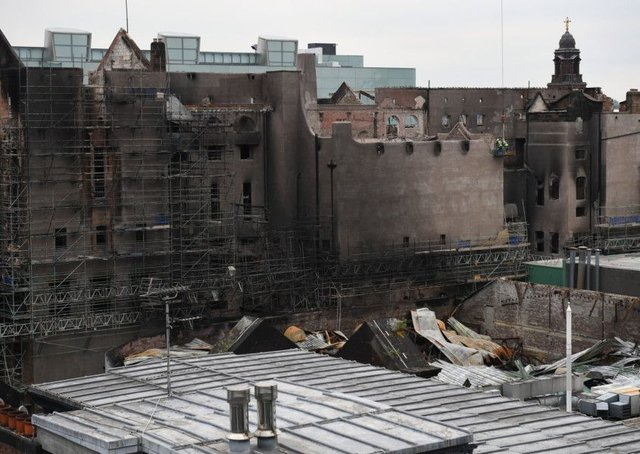 A skyline view before work begins on the demolition of the burnt-out Glasgow Art School. Picture: Jeff Mitchell/Getty Images