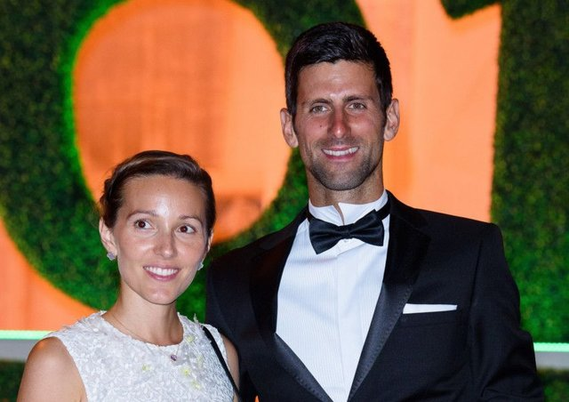 Novak Djokovic and his wife Jelena attend the Wimbledon Champions Dinner following Sundays final.
