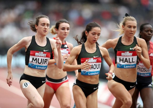 Laura Muir, left, during the Millicent Fawcett Mile at the Muller Anniversary Games at London Stadium. Picture: John Walton/PA Wire