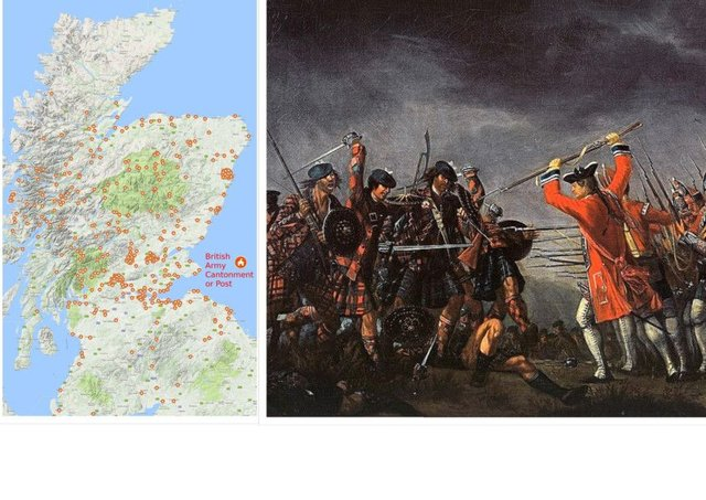 The map produced by Stennis Historical Society to illustrate the number of British Army camps in Scotland following the Battle of Culloden. PIC: Contributed.