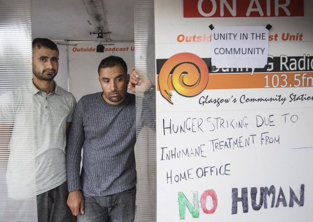 Rahman Shah, left, and Mirwais Ahmadzai are on hunger strike. Picture: John Devlin