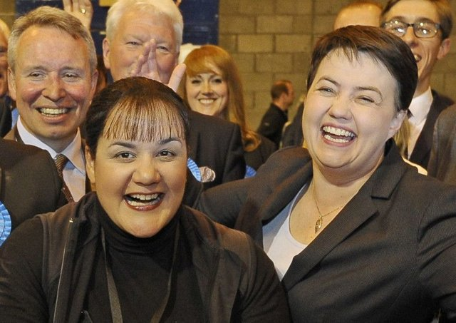 Ashley Graczyk celebrates with Scottish Conservative leader Ruth Davidson after being elected as a Tory councillor (Picture: Neil Hanna)