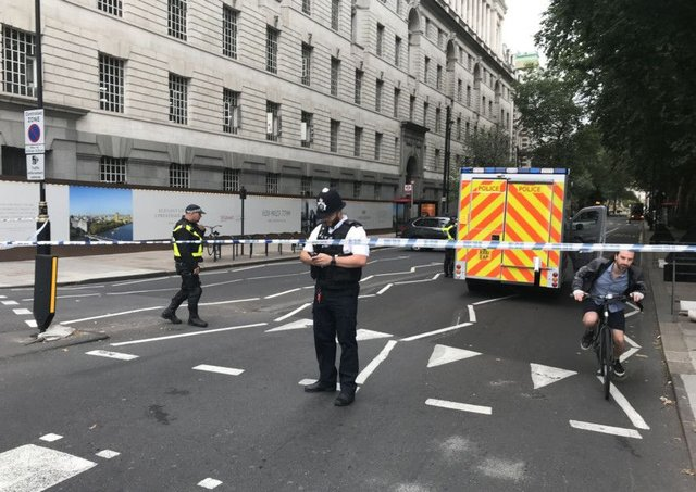 Armed police swooped onto the scene in central London. Picture: Sam Lister/PA
