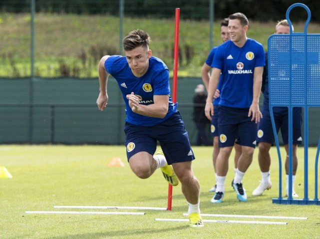 Scotland's Kieran Tierney in training. He could be deployed in a central defensive role against Belgium. Picture: Craig Williamson/SNS