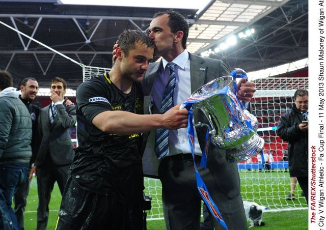 Wigan manager Roberto Martinez with Shaun Maloney after beating Man City in the 2013 FA Cup final. Picture: The FA/REX/Shutterstock