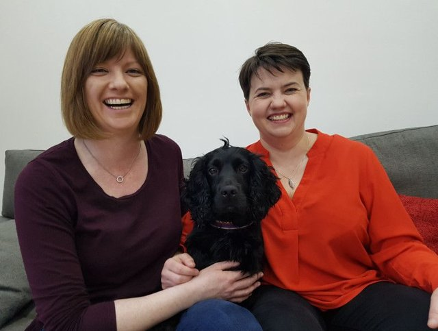 Ruth Davidson MSP and partner Jen Wilson and theri dog Wilson on the announcement of Ruth's pregnancy