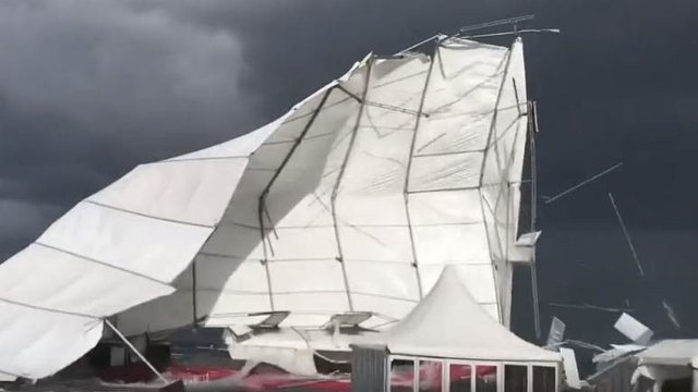 The marquee near St Andrews Old Course is destroyed in Storm Ali winds. Picture: Alan O'Laughlin
