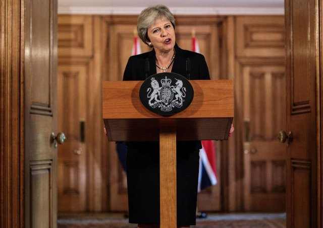 Theresa May speaks in Downing Street in the aftermath of the Salzburg summit, saying European leaders lack respect. Picture: PA