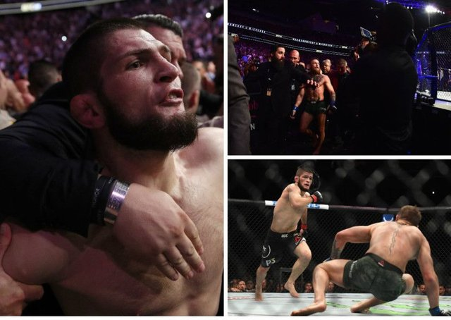 Khabib Nurmagomedov (left) is restrained after jumping in to the crowd to confront Conor McGregor's camp following his UFC victory over the Irishman. Pictures: Getty