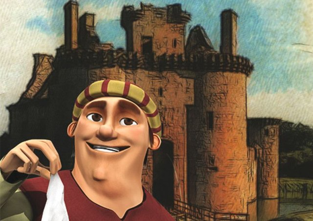 An image from the new app  of a historical character outside the castle, situated near Dumfries