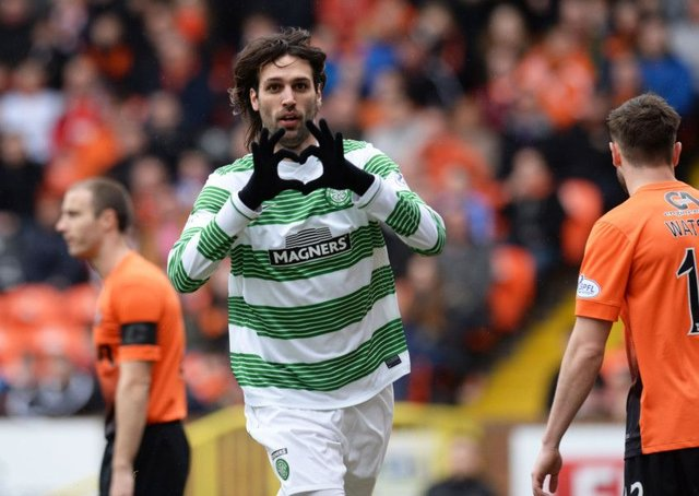 Georgios Samaras celebrates a goal for Celtic against Dundee United in April 2014. Picture: SNS Group