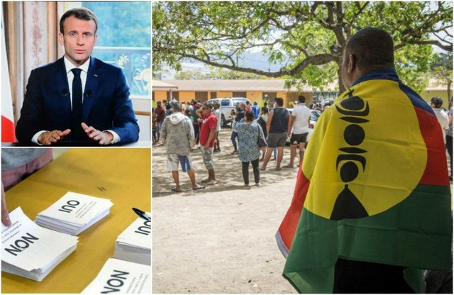 Emmanuel Macron, top left, has said New Caledonia looks to have voted to remain part of France. Pictures: AP/Getty Images