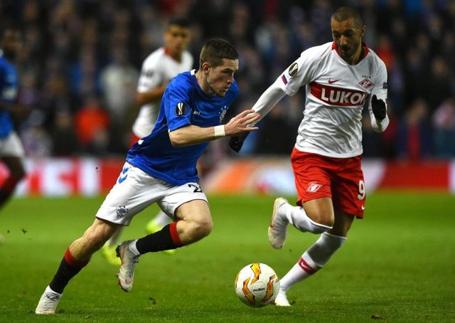 Ryan Kent, in action against Spartak Moscow last month, will miss the return match with the Russians through injury. Picture: AFP/Getty