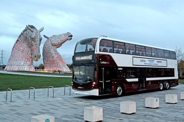 The new Lothian 100-seater at the Kelpies, near the Falkirk factory where they are being built. Picture Michael Gillen