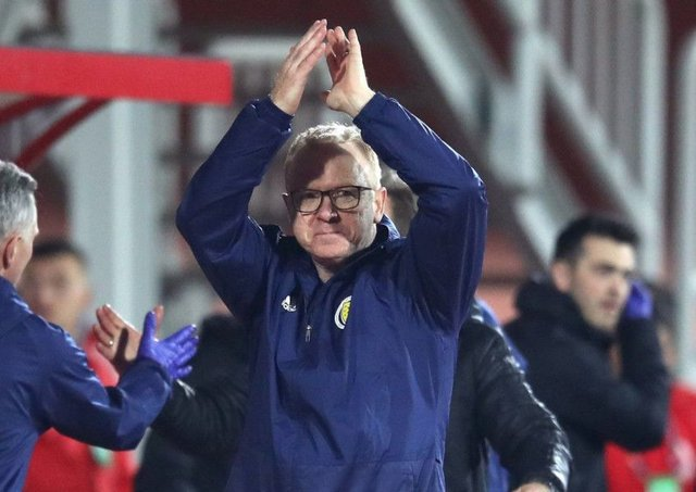 Scotland manager Alex McLeish celebrates after the final whistle in Shkoder. Picture: Adam Davy/PA Wire