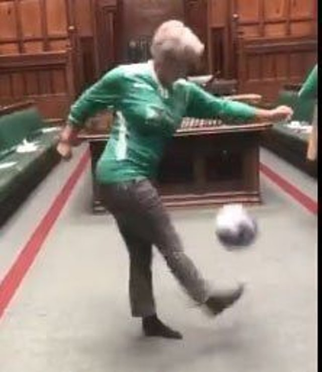 Hannah Bardell MP playing keepie uppie in the Houses of Parliament chamber. Picture: WEB