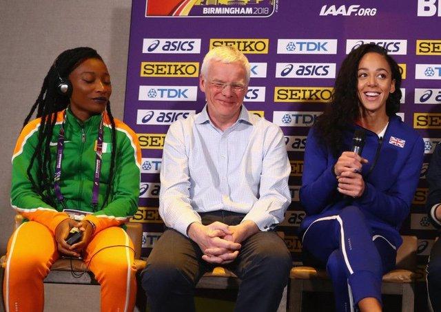 UK Athletics chair Richard Bowker flanked by athletes Katarina Johnson-Thompson, right, and Marie-Josée Ta Lou, left.  Picture: Michael Steele/Getty Images for IAAF