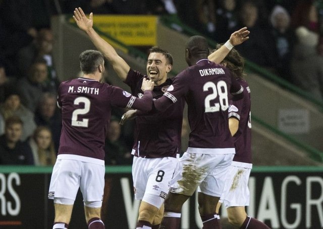 Hearts' Olly Lee celebrates his goal. Pic: SNS/Alan Harvey