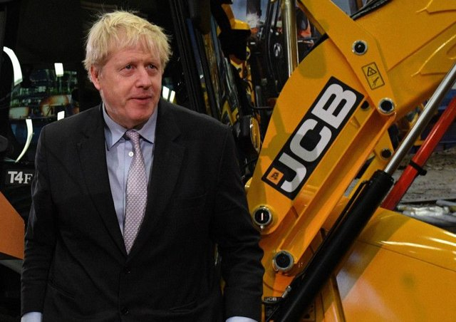Boris Johnson visits JCB HQ in Rochester on Friday to give his speech. Picture: Oli Scarff/Getty