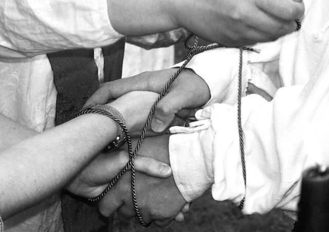 The old custom of handfasting is having a modern revival - although the meaning of the ritual has changed over time. PIC: Creative Commons/Flickr/Kam Abbott