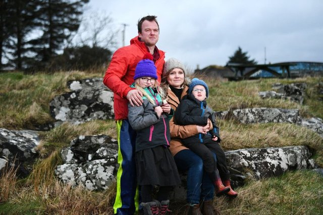 Ulva residents Rhuri and Rebecca Munro with their children Ross and Matilda. Picture: John Devlin