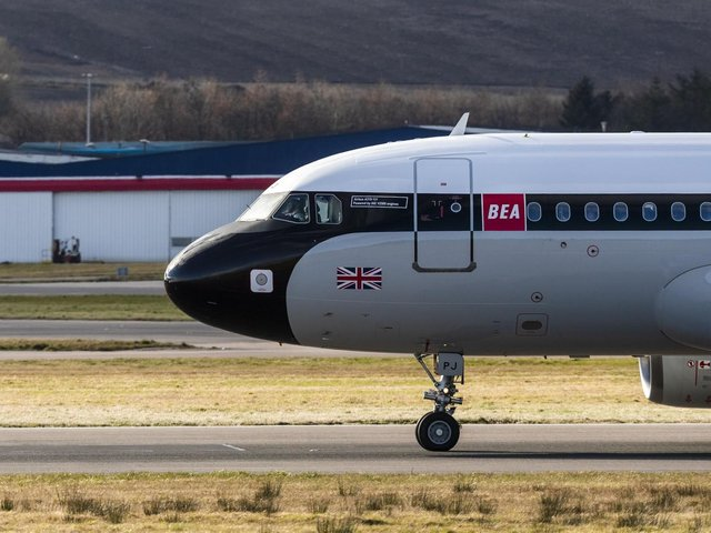 The new-look BA plane in Aberdeen yesterday. Picture: BA/Newsline