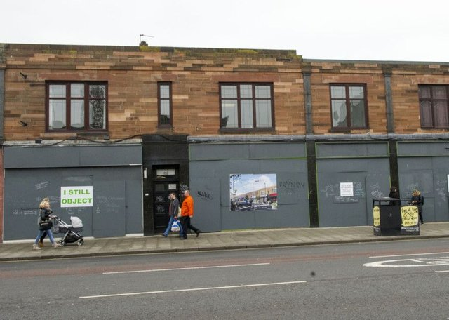 Retail units at Stead's Place have been boarded up as Drum gets the building ready for redevelopment.