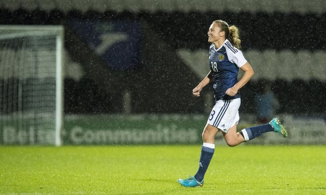 Claire Emslie in action for Scotland during a World Cup qualifier against Albania
