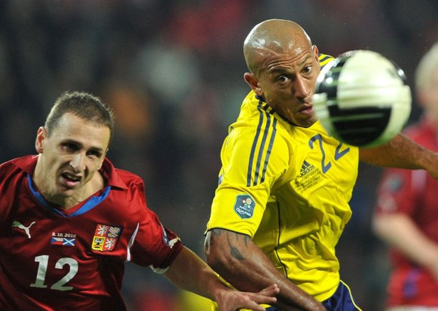 Scotland's Chris Iwelumo and Czech's Zdenek Prospech (left) fight for a ball during the infamous 4-6-0 match in Prague in October 2010. Picture: AFP/Getty Images