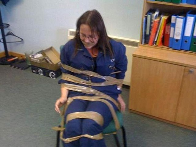 Fisheries officer DeeAnn Fitzpatrick was gagged and tied to a chair by colleagues.