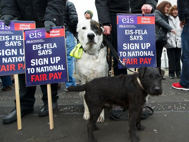 An EIS picket line outside Glasgow Kelvin College in March. Picture: John Devlin