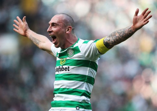 Scott Brown celebrates Celtic's win in the Old Firm derby at full-time. Picture: Ian MacNicol/Getty Images
