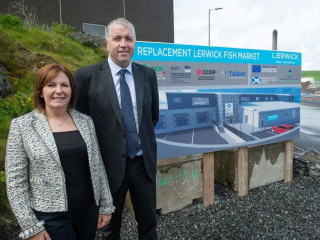 Carolyn Martin, relationship manager at Bank of Scotland, with Calum Grains chief executive of Lerwick Port Authority. Picture: Contributed