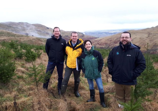 Stuart Goodall, CEO, Confor; Andrew Vaughan, District Manager, Tilhill Forestry; Mairi Gougeon MSP, Minister for Rural Affairs and the Natural Environment; Murray Cook, Archaeologist, Stirling Council