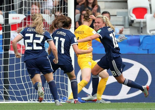 Claire Emslie says scoring Scotland's first ever World Cup goal hasn't sunk in yet. Picture: Richard Sellers/PA