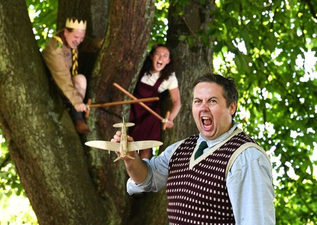 Adam Donaldson, Ben Noble and Natalie Lauren dressed as Enid Blyton-style schoolchildren in Henry V. Picture: John Devlin