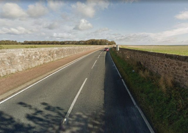 The A917 was closed while emergency services were on the scene. Picture: Google.