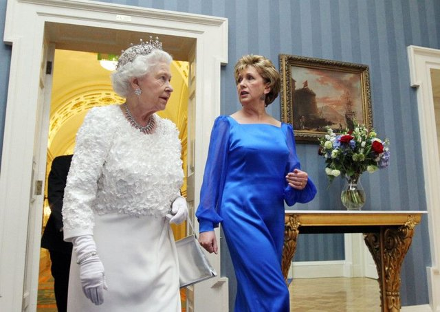 Queen Elizabeth and then Irish President Mary McAleese arrive for a state dinner at Dublin Castle in 2011 (Picture: Irish Government/Pool/Getty Images)
