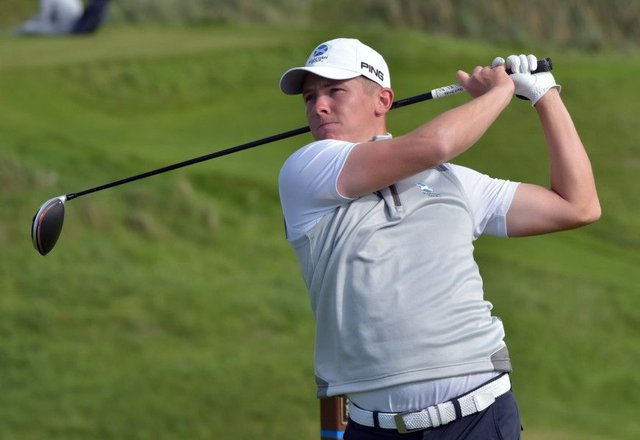 Kieran Cantley in action during the Home International Matches at Lahinch Golf Club. Picture courtesy of GUI