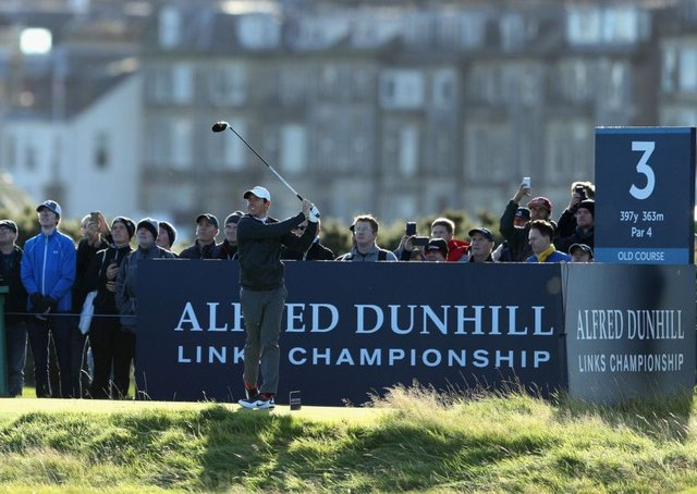 Rory McIlroy tees off on the third at the Old Course in the 2017 Alfred Dunhill Championship. Picture: Richard Heathcote/Getty