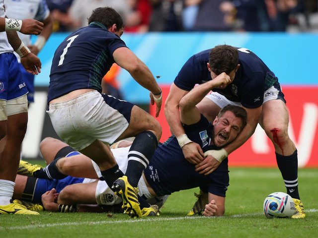Greig Laidlaw scores the winning try for Scotland against Samoa in Newcastle four years ago to seal a quarter-final place after a tense 36-33 victory. Picture: Getty Images