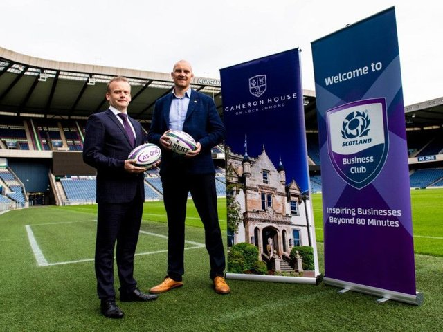 Andy Roger of Cameron House and Al Kellock of Scottish Rugby. Picture: Contributed